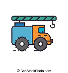 Crane truck, construction vehicle flat line illustration, concept vector isolated icon
