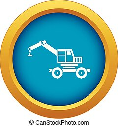 Crane truck icon blue vector isolated
