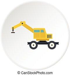Crane truck icon circle