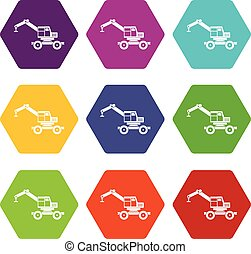 Crane truck icon set color hexahedron