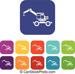Crane truck icons set flat