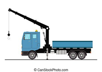 Crane truck, isolated on white background,