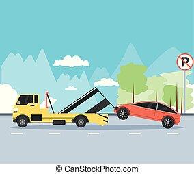 crane truck service in the parking zone scene
