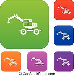 Crane truck set color collection