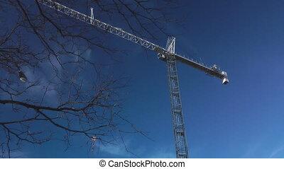 Crane Turning - Gantry Crane On A Construction Site