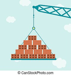 Crane with bricks