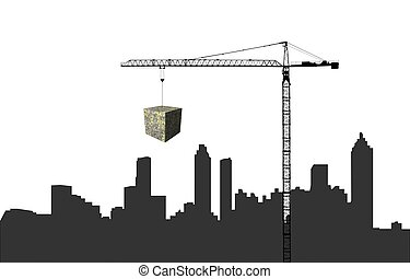 Crane with dollar cube and Atlanta skyline illustration