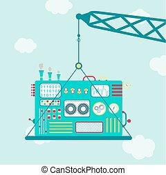 Crane with machine