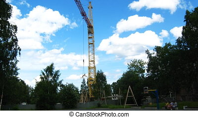 Crane working at house building time lapse