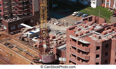 Crane working in construction site Building