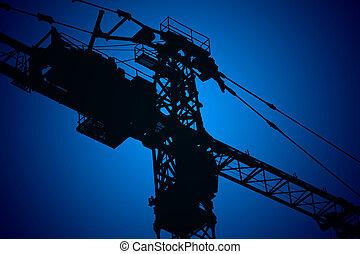 Crane,construction tower, illustration with vivid colors