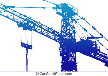 Crane,construction tower, illustration with vivid colors