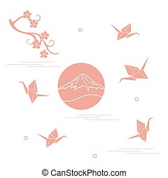 cranes., さくらんぼ, 富士山, ペーパー, ブランチ, origami, 花