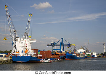 Cranes and carriers in the Port of Rotterdam, the Netherlands