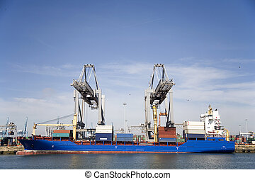 Cranes and carriers in the Port of Rotterdam