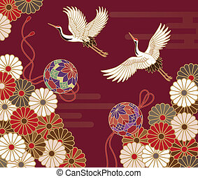 Cranes and chrysanthemums Japanese traditional pattern -...