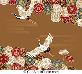 Cranes and chrysanthemums Japanese traditional pattern in...