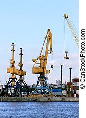 Cranes and containers at the port