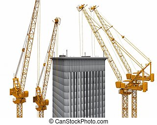 cranes and the building on a white background
