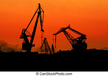 Cranes at dusk - Silhouette of cranes at dusk