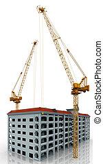 Cranes building a highrise