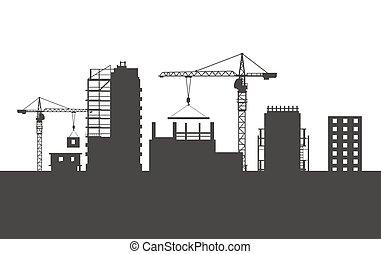 cranes., edifícios., dois, quatro, colourless, inacabado