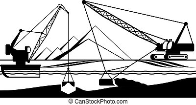 Cranes extracting sand from bottom of river - vector...