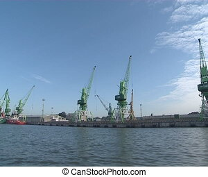 Cranes for loading and unloading of ships. Nautical cargo...