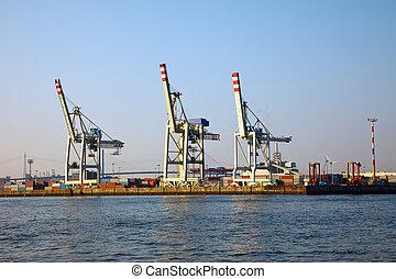 Cranes in Hamburg harbor, Germany