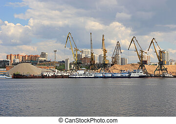 Cranes in harbour, Moscow