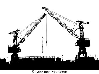 Cranes in port - Vector drawing silhouettes of cranes