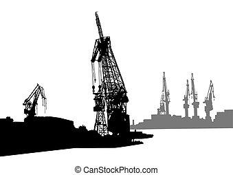 Cranes in sea port