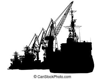 Cranes in seaport