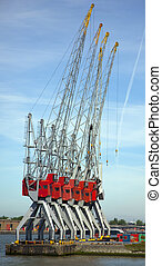 cranes in the harbour of rotterdam