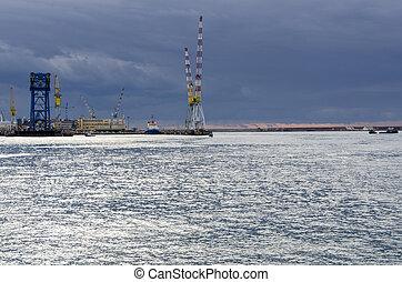 cranes in the port of Genoa