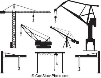 Cranes - Set of cranes illustrated on white