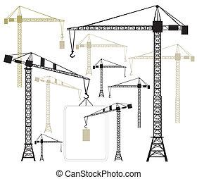 cranes, silhouettes, вектор