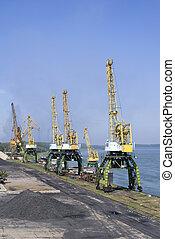 Cranes on the Danube river - port Svishtov, Bulgaria