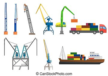 Cranes, truck and container ship - Lifting loading harbor...