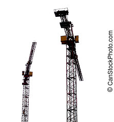 Cranes - Two building cranes, isolated