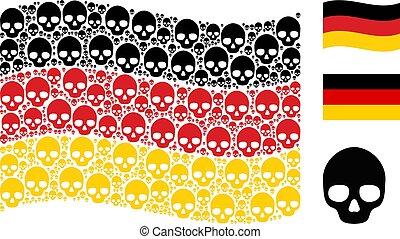 cranio, alemão, itens, waving, colagem, bandeira
