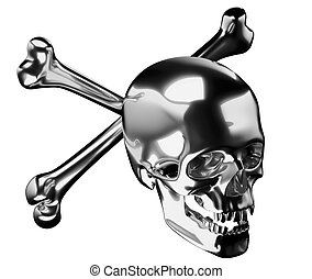 cranio, argento, attraversato, ossa, totenkopf, o