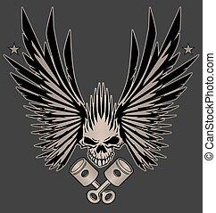 cranio, asas, e, cruzado, pistões