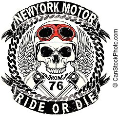 cranio, camisa t, motocicleta, logotipo, projeto gráfico