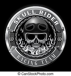 cranio, club, distintivo, illustrazione, vettore, squadra, da corsa, cavaliere