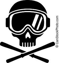 cranio, com, óculos proteção esqui, e, esquis
