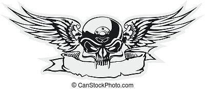 cranio, com, asas, em, cinzento, base