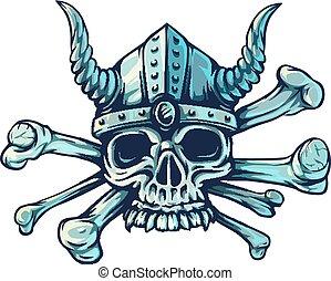 cranio, com, chifres, e, cruzado, ossos