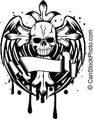 cranio, com, crucifixos, e, asas