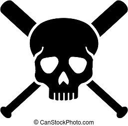 cranio, com, cruzado, bastões baseball